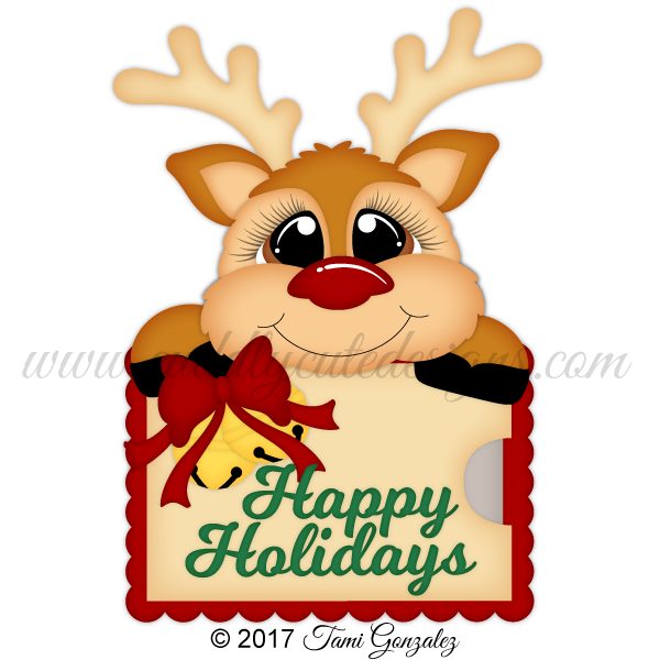 Christmas reindeer card holder. Gift clipart my cute graphics