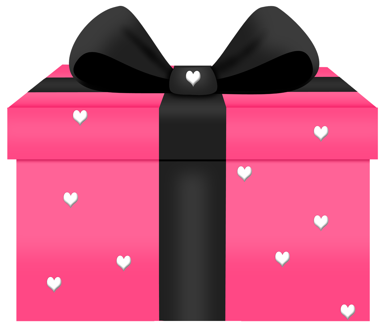 Transparent with hearts decorn. Gift clipart pink gift