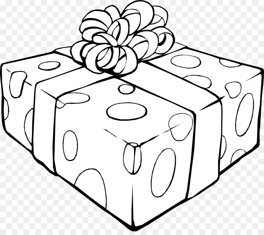 Christmas black and white. Gift clipart present outline