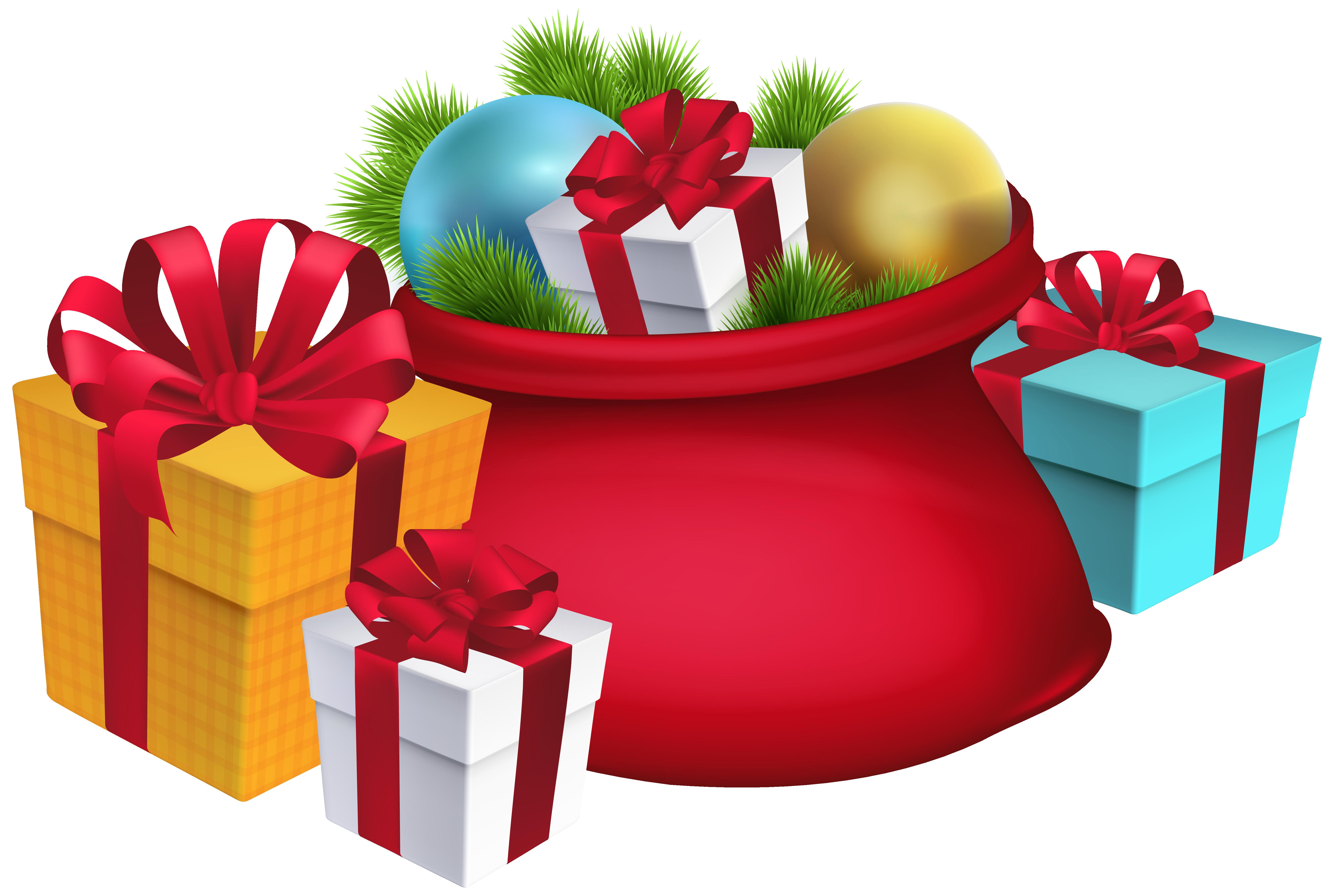 Christmas santa s decorations. Gift clipart sack