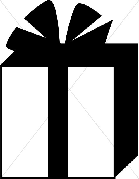 Gifts clipart simple. Black and white gift