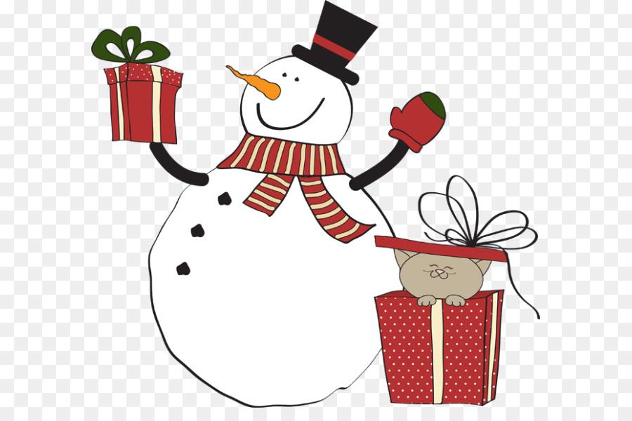 Christmas clip art . Gift clipart snowman
