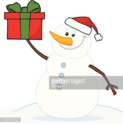 Gift clipart snowman. Holding a premium clipartlogo