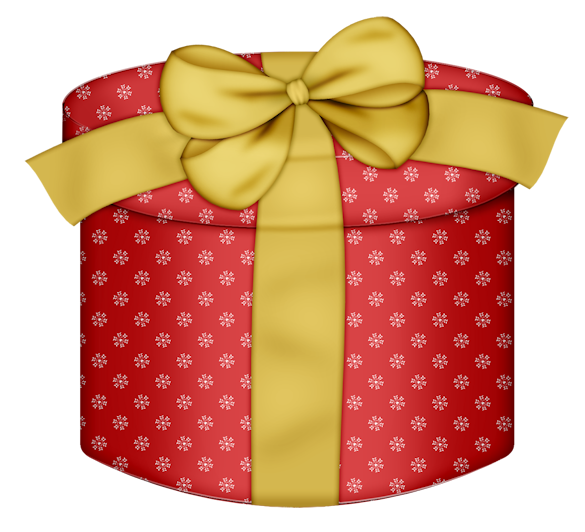 Gift clipart yellow. Red round box with