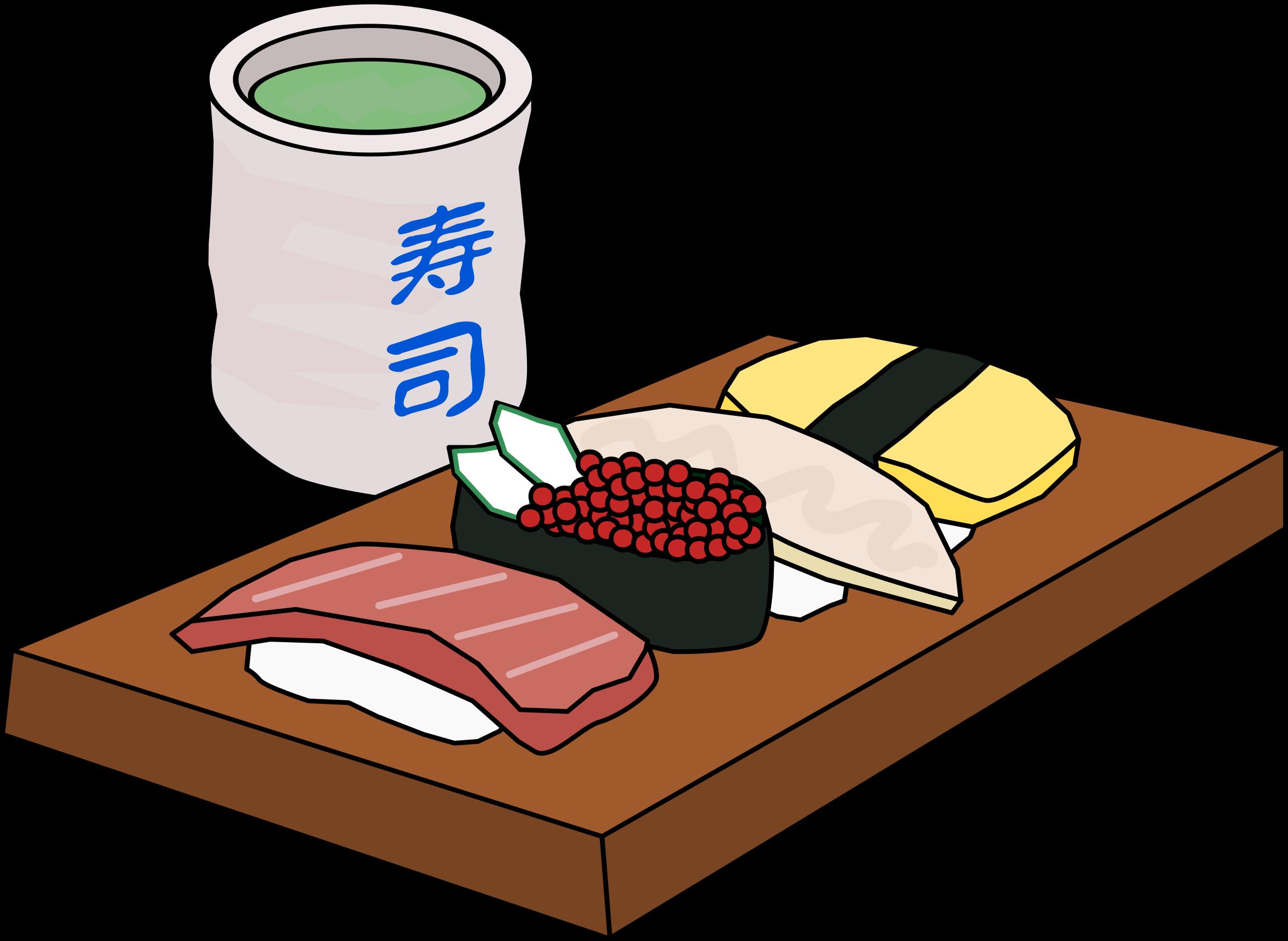 Sushi cartoon with gift. Tea clipart social