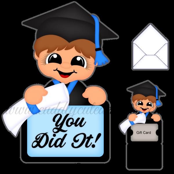 Grad gift card holder. Graduation clipart boy