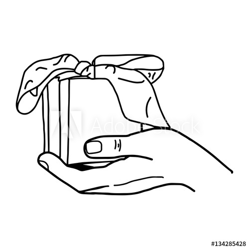 Illustration vector drawn doodle. Gifts clipart hand holding
