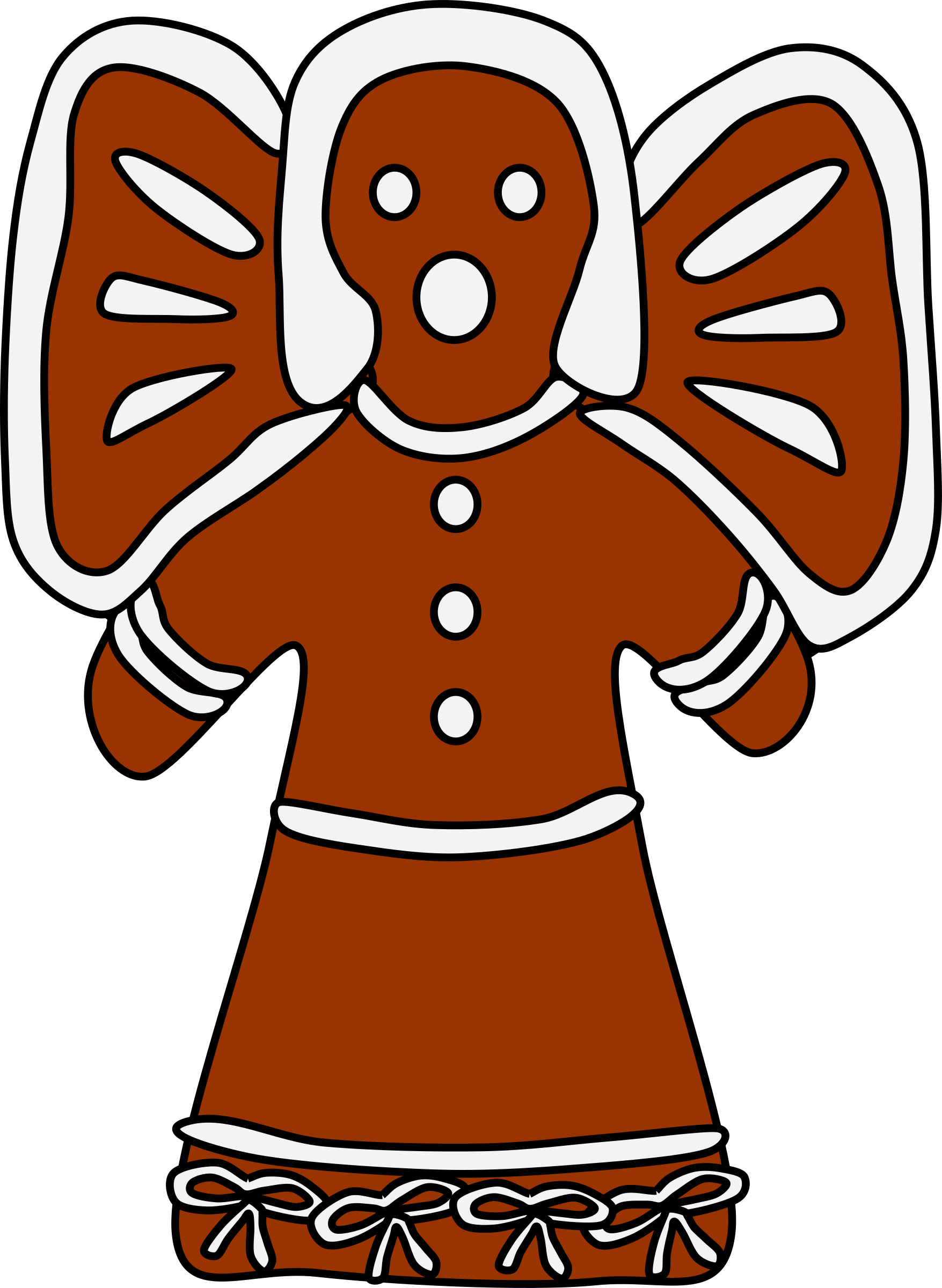 With bows big image. Gingerbread clipart angel