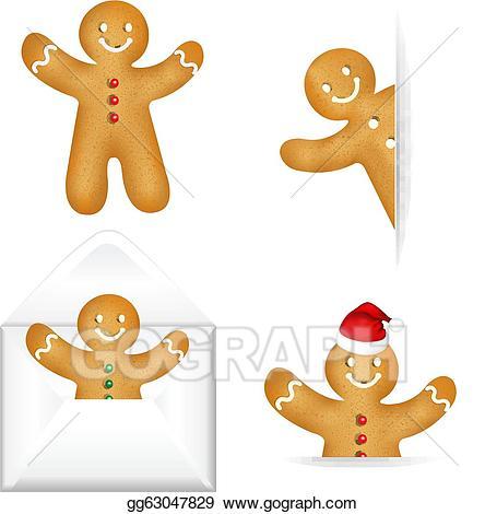 Gingerbread clipart big. Vector art mans set