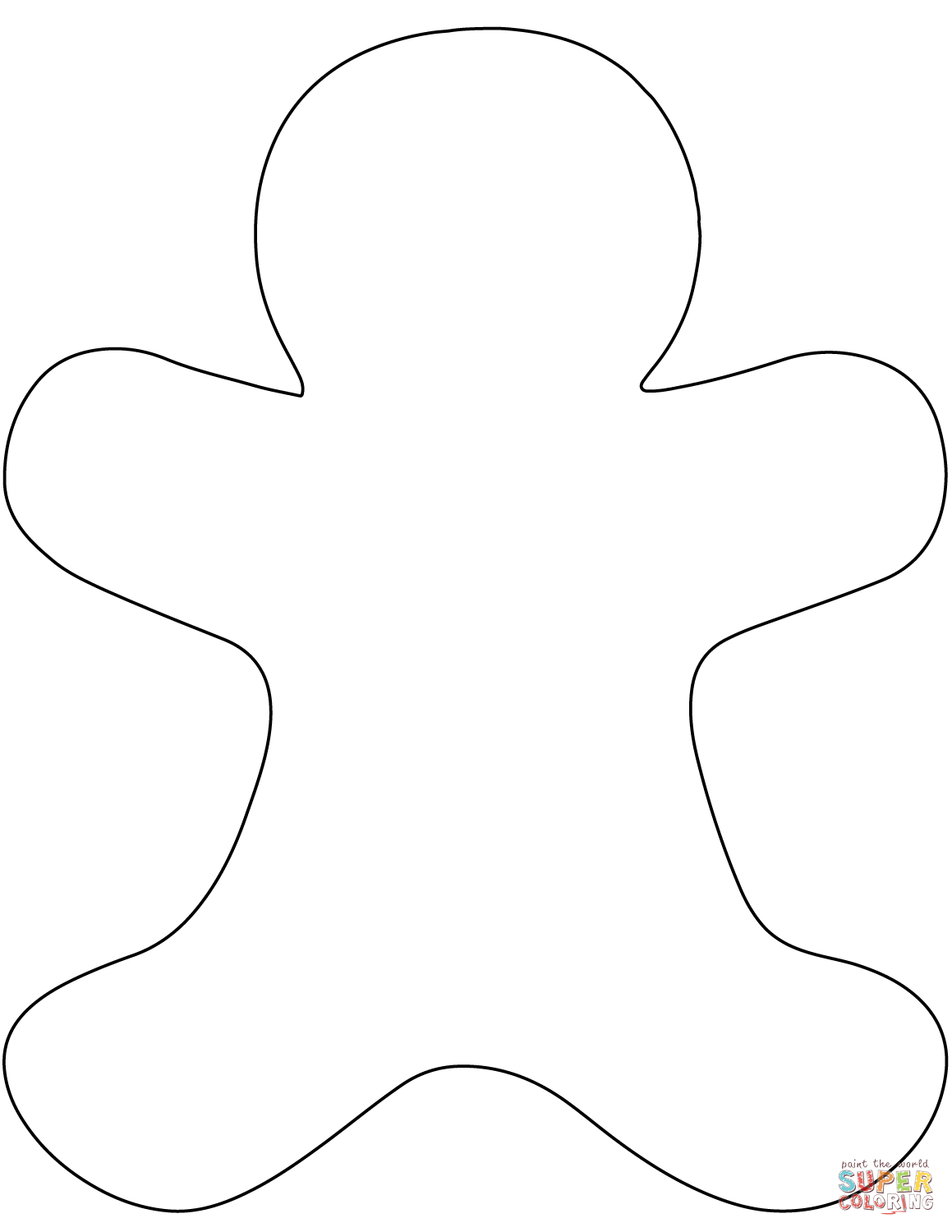Man coloring page free. Gingerbread clipart blank