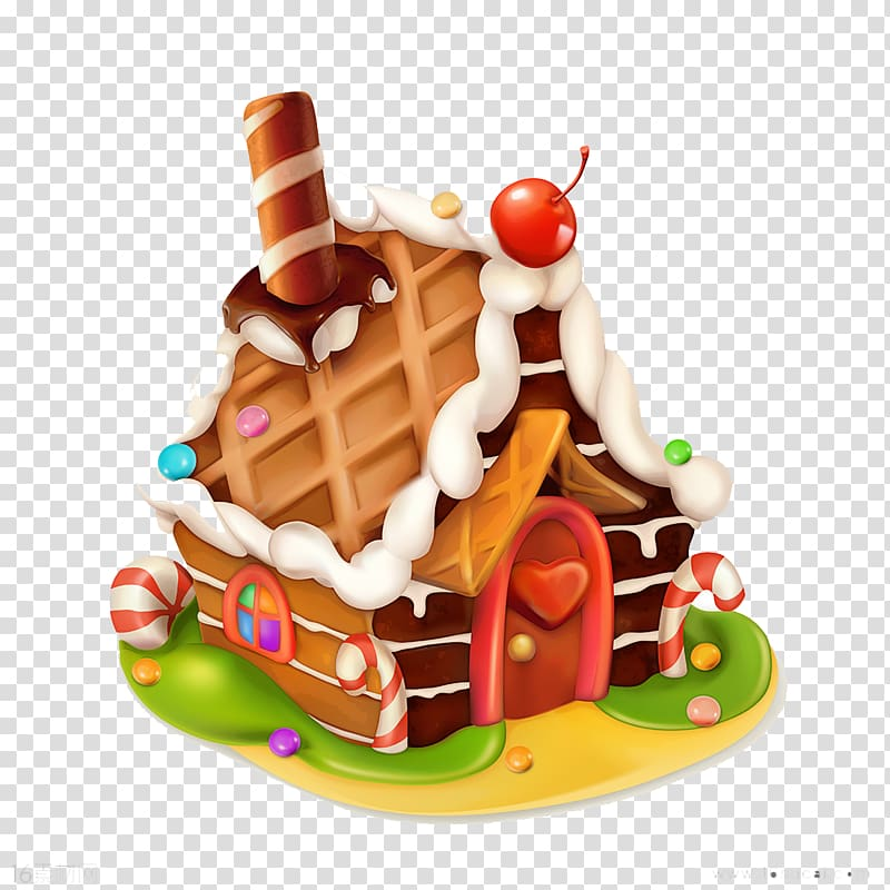 Gingerbread clipart chocolate house. Illustration cupcake