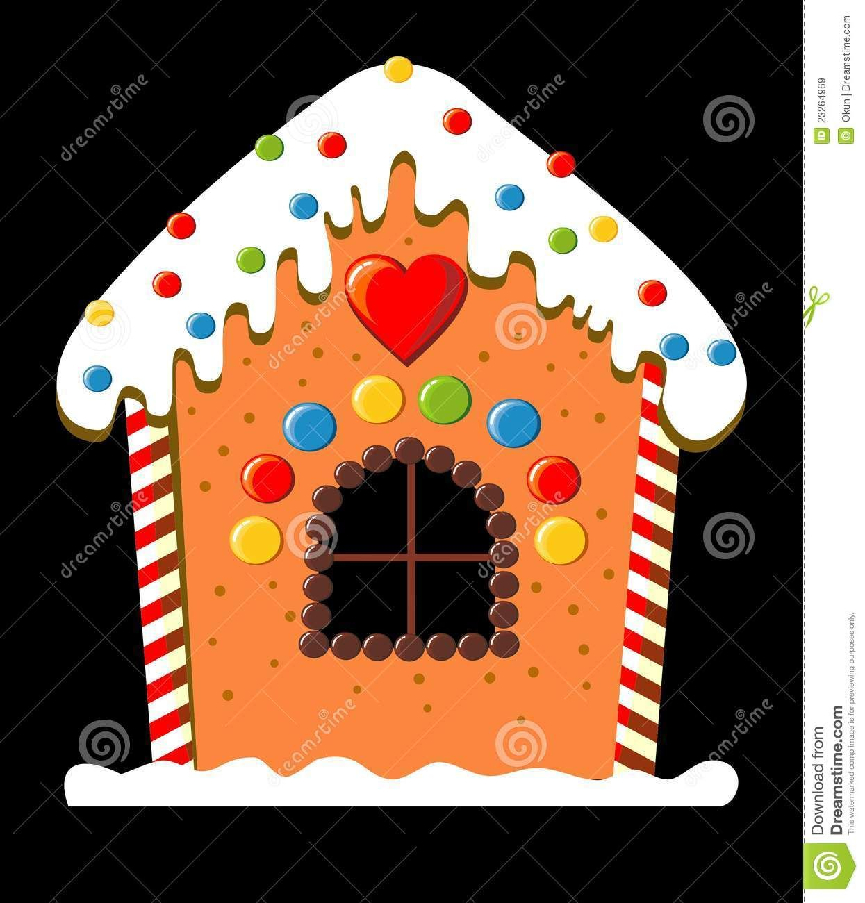 Gingerbread clipart chocolate house. Candy cartoon decorated with