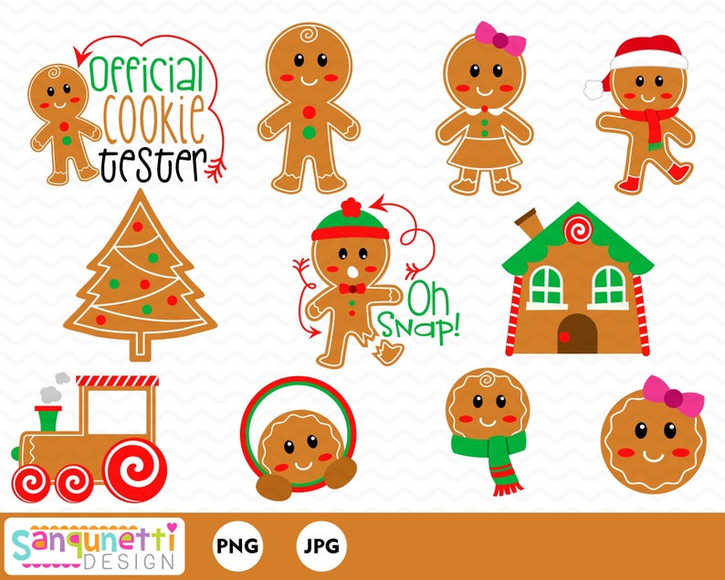 Christmas cookie digital graphics. Gingerbread clipart clip art