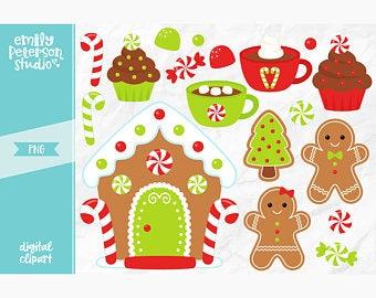 Etsy . Gingerbread clipart clip art