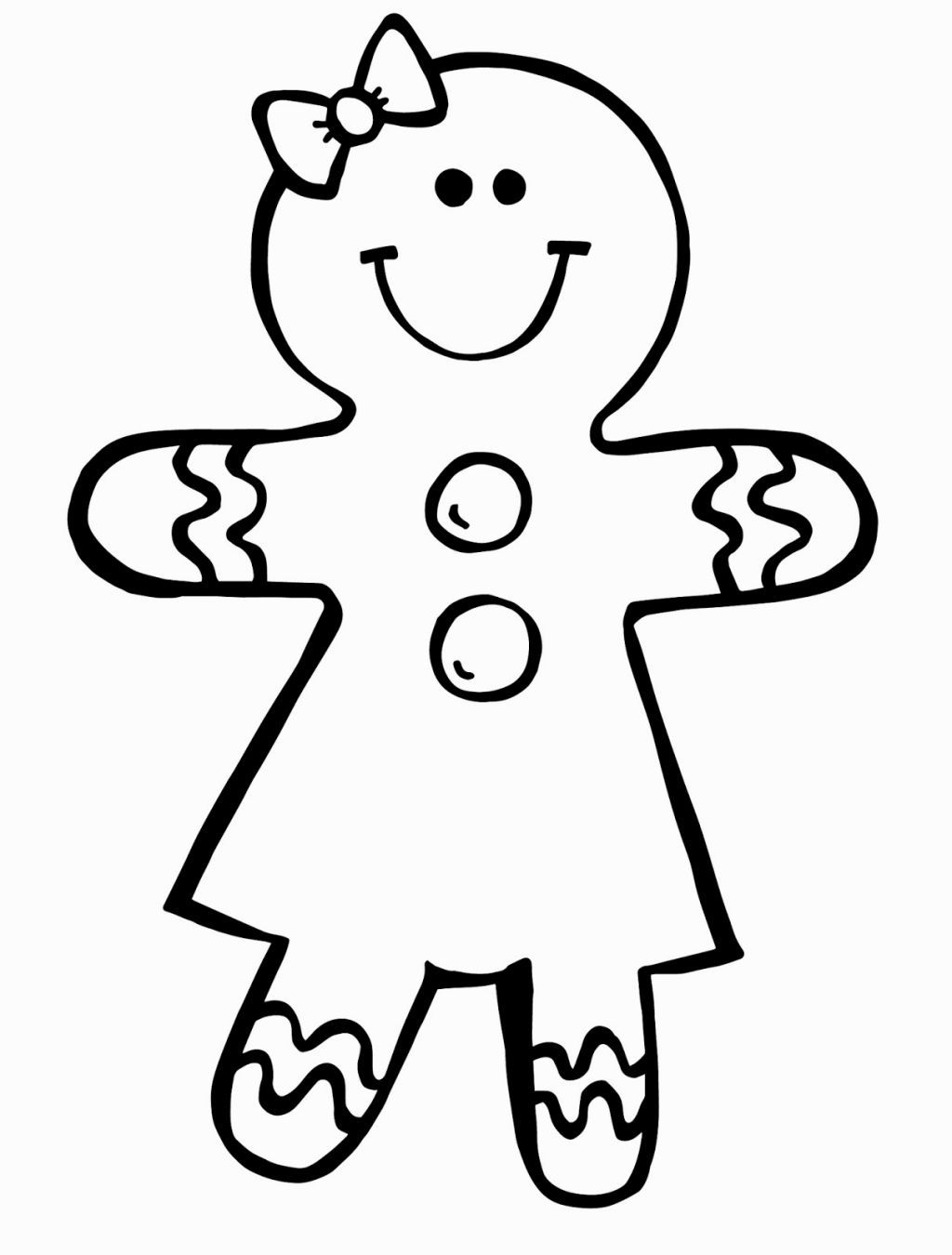 Gingerbread clipart coloring page. Girl pages