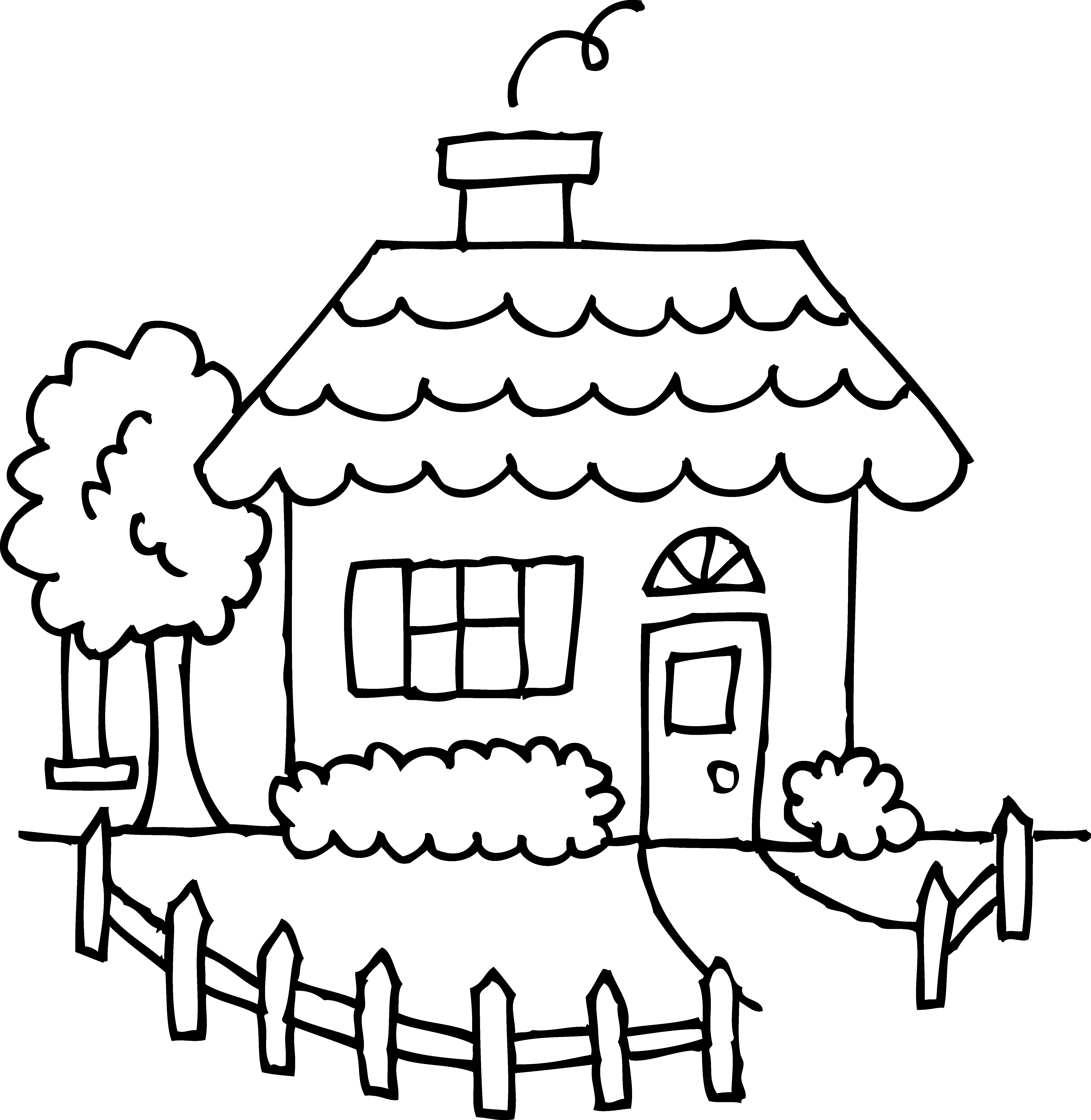 School house free pages. Gingerbread clipart coloring page