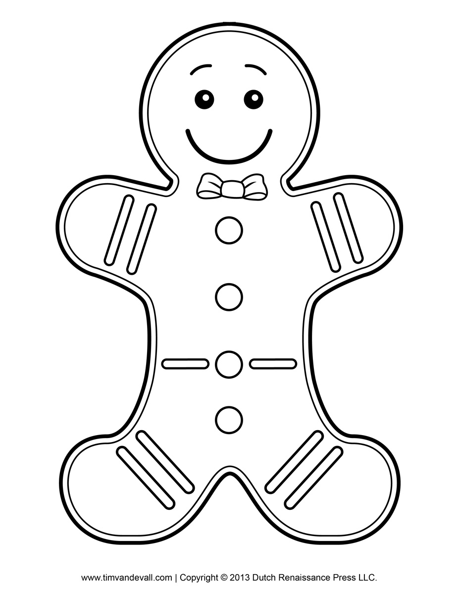 Man template for kids. Gingerbread clipart coloring page
