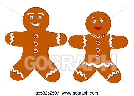 Gingerbread clipart couple. Vector illustration