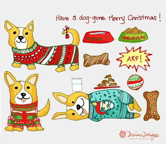 Christmas corgi clip art. Gingerbread clipart dog