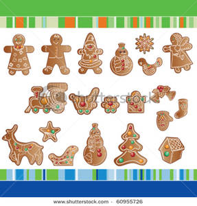 Gingerbread clipart dog. A set of christmas