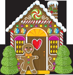 Christmas clip art for. Gingerbread clipart elf house