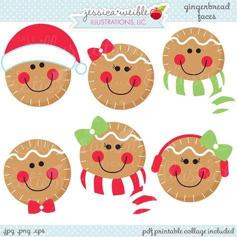 Faces cute christmas digital. Gingerbread clipart face