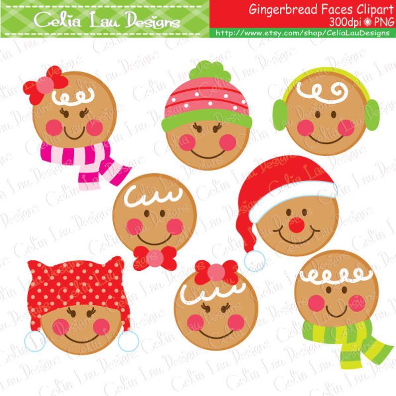 Gingerbread clipart face. Faces christmas digital cute