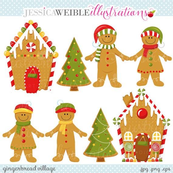 Gingerbread clipart gingerbread tree. Village cute digital commercial