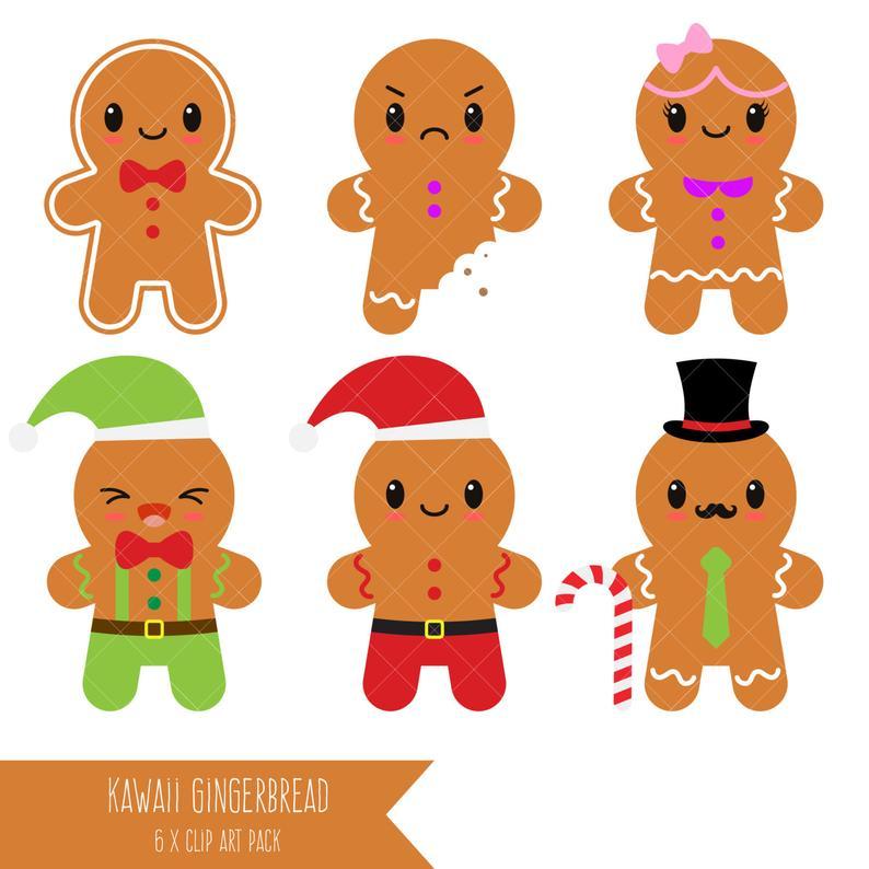 Gingerbread clipart kawaii. Man cookies