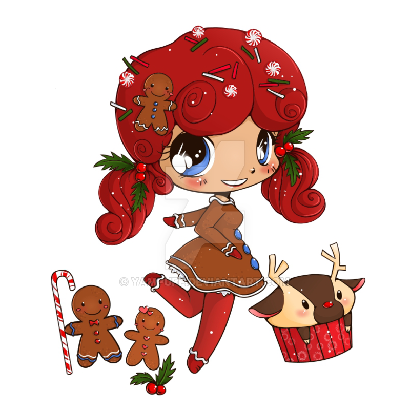 Gingerbreadgirl chibi commission by. Gingerbread clipart kawaii