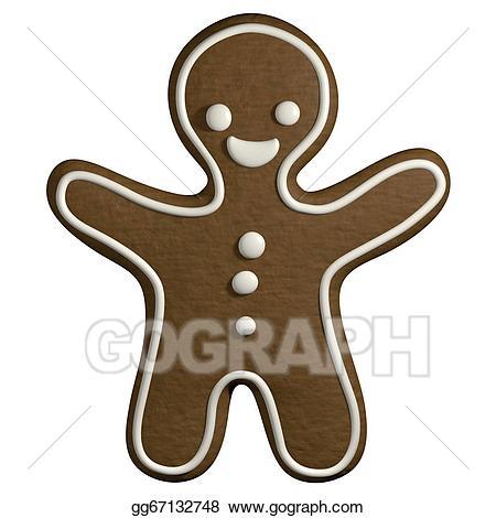 Stock illustration d cartoon. Gingerbread clipart man shape