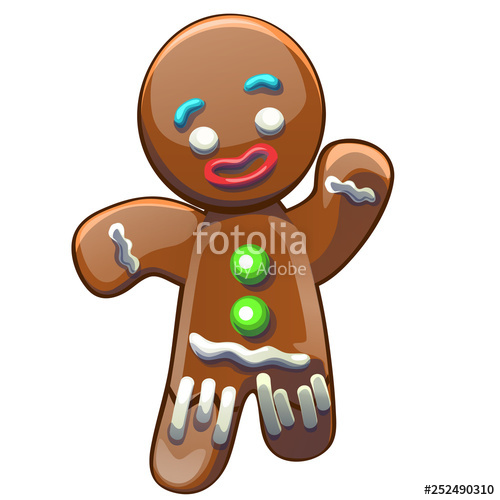 Gingerbread clipart man shape. Decorated colored icing isolated