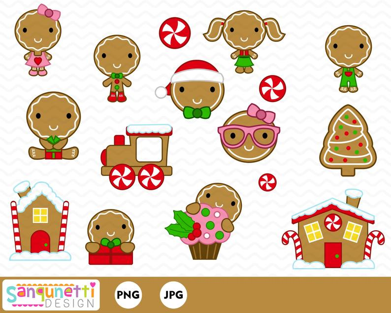 Christmas cookie clip art. Gingerbread clipart month