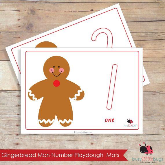 Gingerbread clipart playdough. Man number learning mats