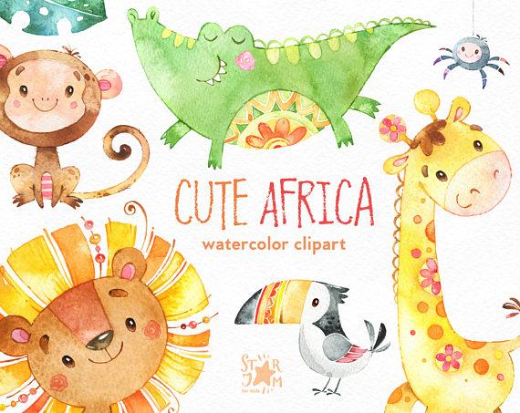 Giraffe clipart bird. Cute africa watercolor animals