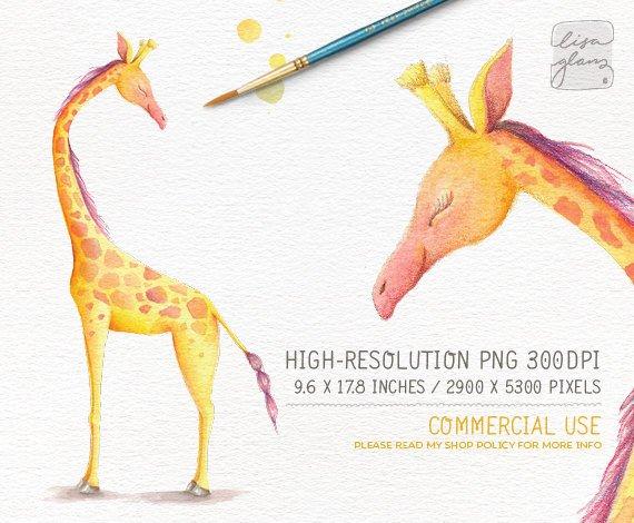 Giraffe clipart childrens. Watercolor hand painted nursery