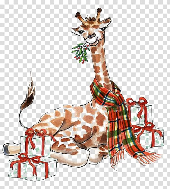 Giraffe clipart christmas. Transparent background png hiclipart
