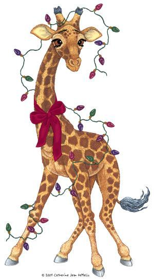 Station . Giraffe clipart christmas