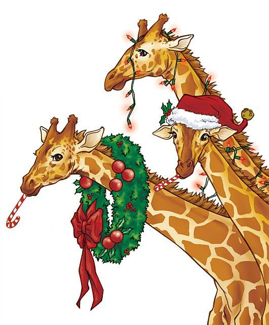 Victorian clip art animals. Giraffe clipart christmas
