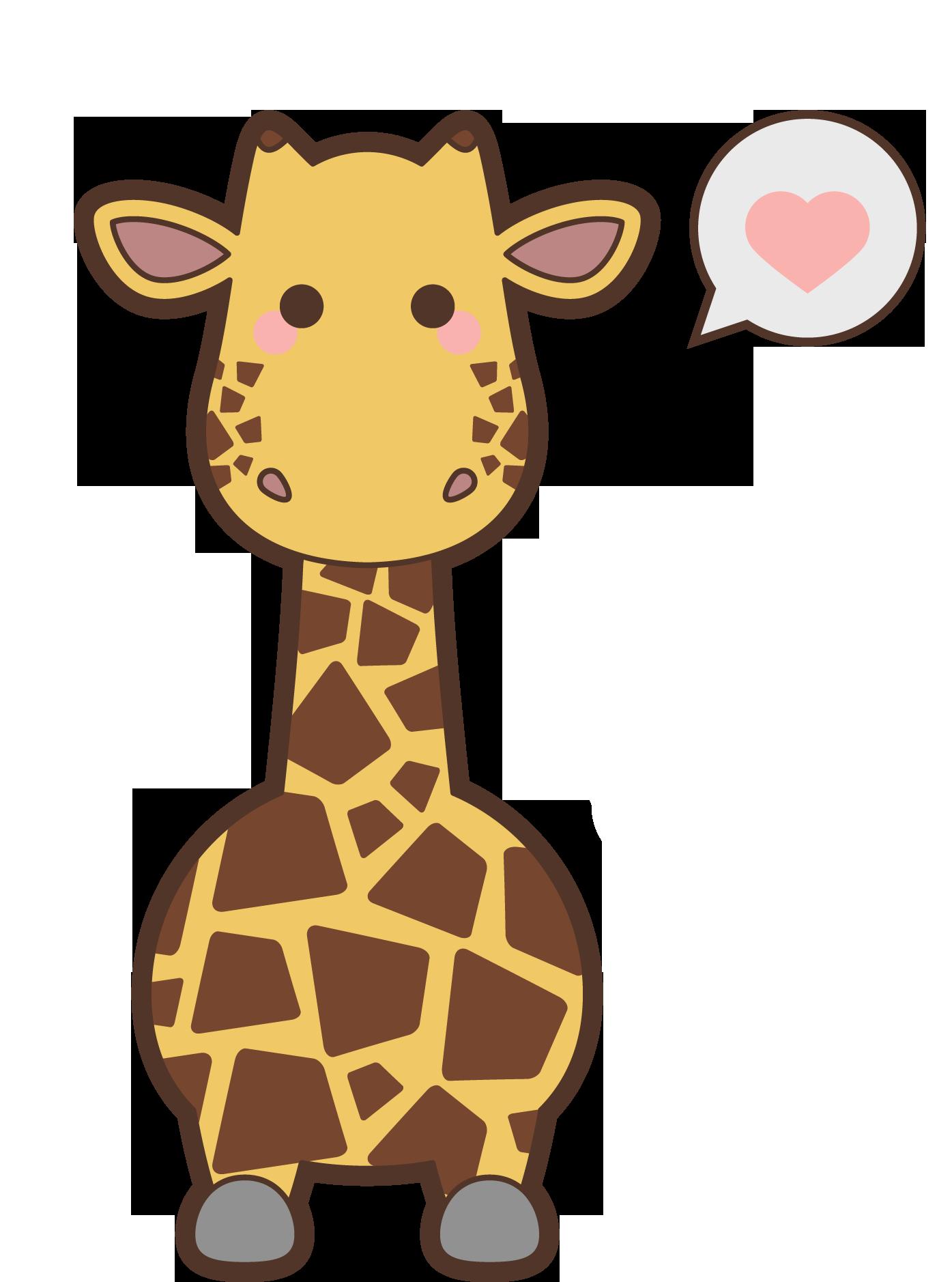 Giraffe clipart icon. Safari animal kavaii creative