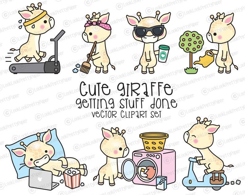 Premium vector cute planning. Giraffe clipart kawaii