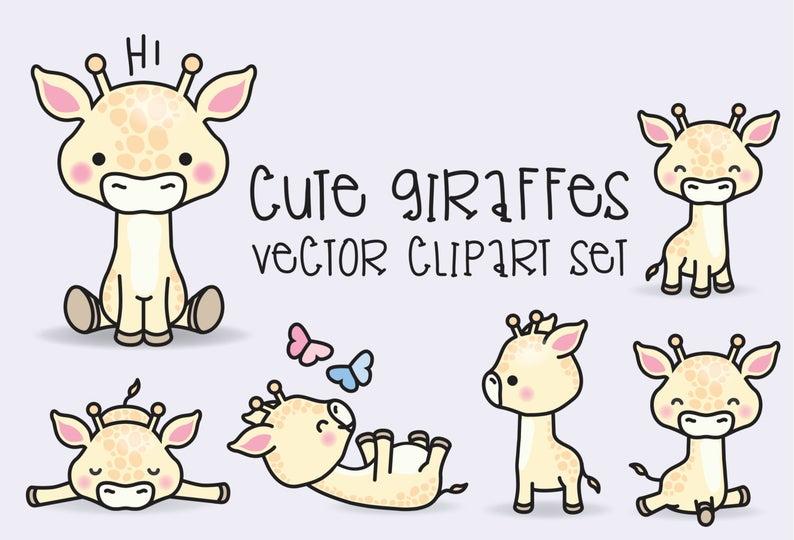 Premium vector giraffes cute. Giraffe clipart kawaii