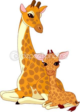 Giraffe clipart mom baby. Mother and horses drawing