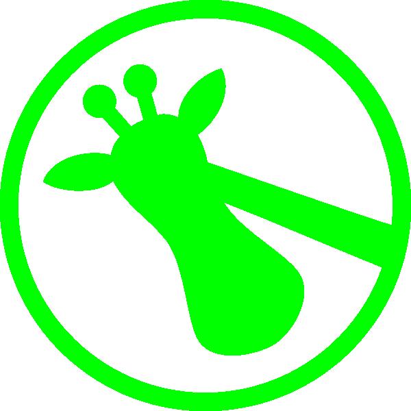 Green on clip art. Giraffe clipart side view