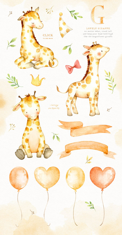Lovely clip art flower. Giraffe clipart watercolor