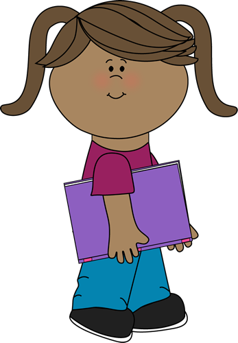 Girl clipart book. With a school from
