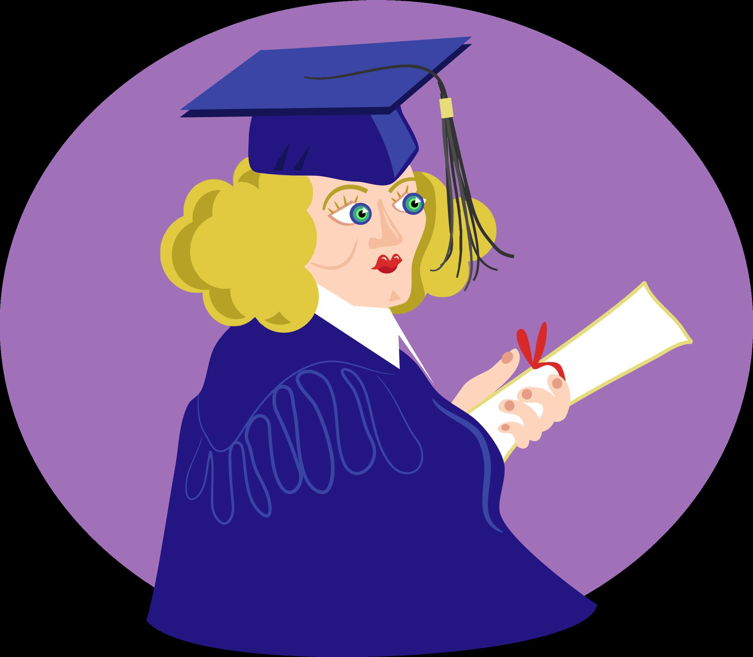 Girl big image png. Purple clipart graduation