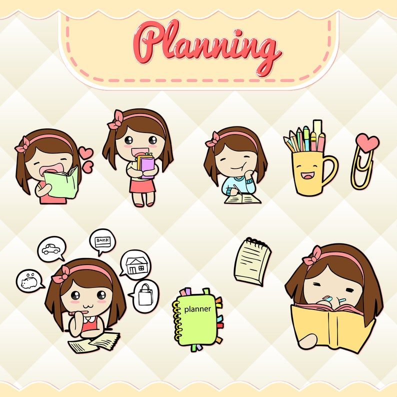 Planning cute girl stickers. Planner clipart file