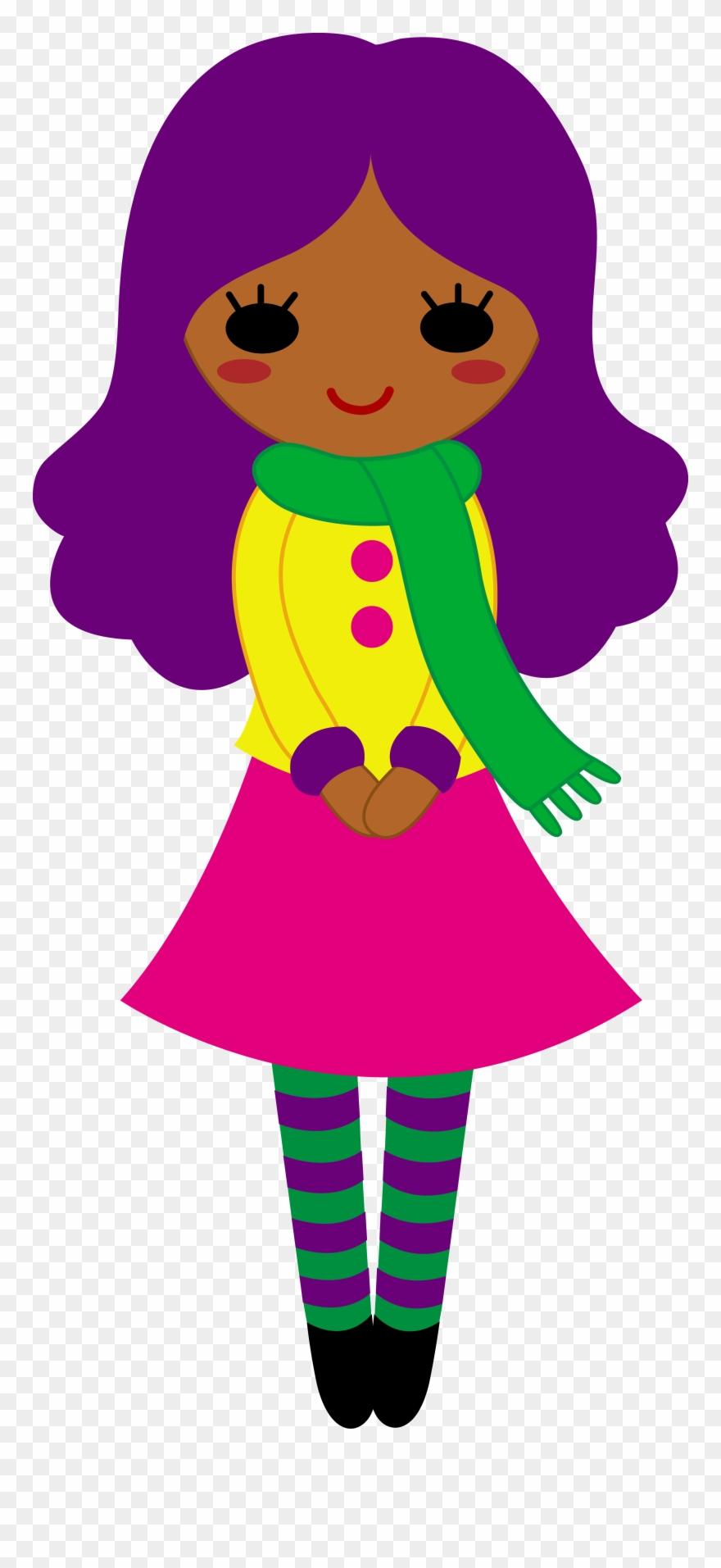 Girl clipart purple. Cute clip art with