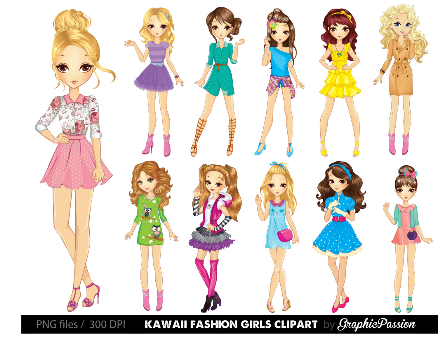 Lady clipart. Cartoon girl kawaii girls